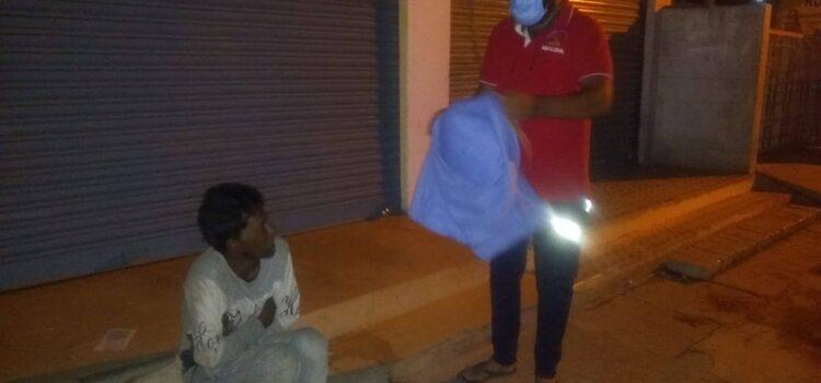 Blanket distribution for homeless